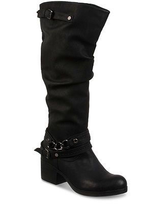 Womens CARLOS SANTANA CASSIE Vegan Faux LEATHER Punk BOOTS BLACK 8.5 Chain Strap