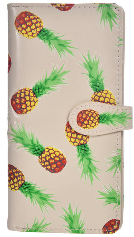 NEW SHAGWEAR SHAG WEAR PINEAPPLES Large Wallet Organizer Zip CREAM CREME