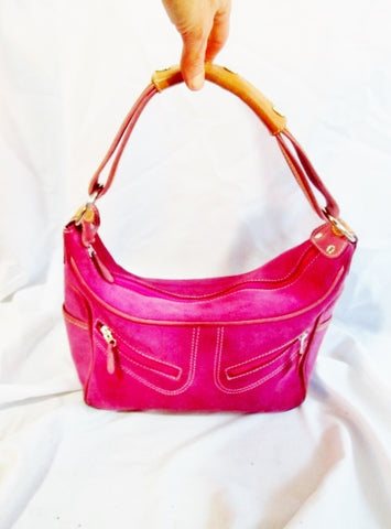 OMBU ANTHROPOLOGIE Suede Leather Hobo Handbag Satchel Purse PINK BUBBLE GUM
