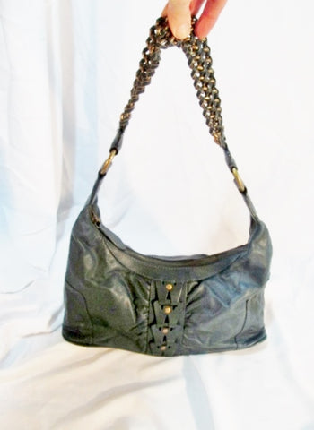 WILSONS Leather Hobo Handbag Purse Shoulder Flap Bag BLUE Slate Chainlink Woven