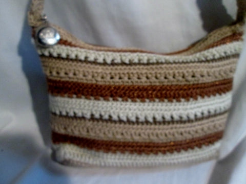 THE SAK signature knit shoulder bag satchel hobo purse BEIGE BROWN STRIPE Vegan