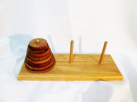Signed BCK 1999 Carved Crafted TOWER OF HANOI Wood TOY Folk Art Handmade