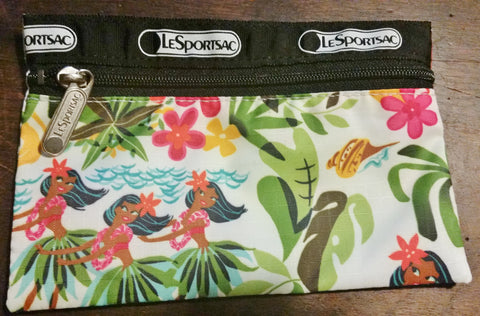 LESPORTSAC purse vegan organizer pouch cosmetics case TROPICAL HAWAII GIRLS FLORAL