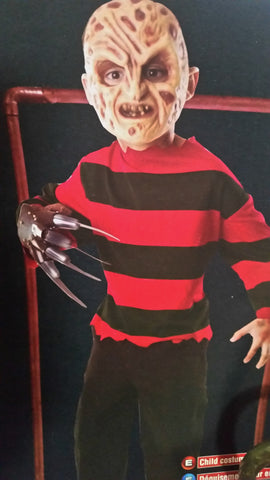 Kids Youth FREDDY NIGHTMARE ON ELM STREET Disguise Halloween Costume Cosplay Party L 12-14