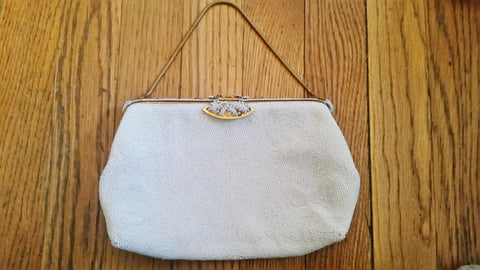 Vintage 40's French DORMAR FRANCE Bead Evening Bag Purse WHITE Pearl Clutch Vegan