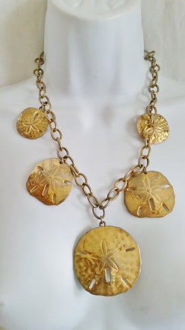 "Vintage 20"" SAND DOLLAR Charm Necklace Choker GOLDTONE Statement Mermaid Nautical SEA STAR"