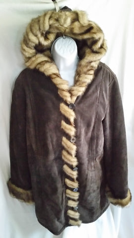 Womens DENNIS BASSO Suede Leather Faux Fur jacket coat BROWN S Hood