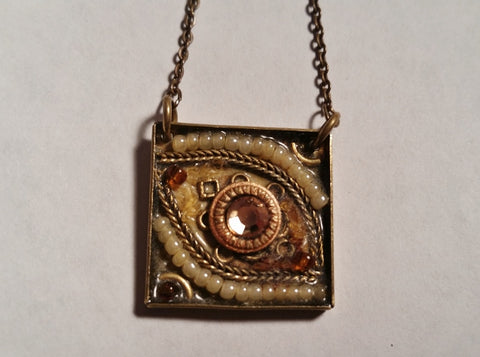 "14.5"" ADAYA EYE EYEBALL Steampunk Pendant Chain NECKLACE COLLAR CHOKER GOLD BRASS"
