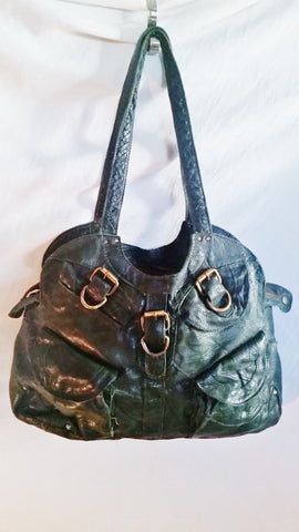 MIO ACCESSORI MONIQUE ELIZIA soft leather hobo satchel shoulder bag GREEN Industrial