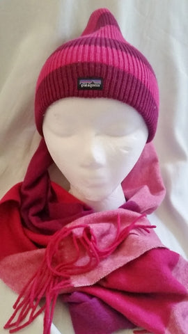 Lot PATAGONIA Hat Cap Ski Snowboard Winter RASPBERRY PINK Stripe Scarf OS