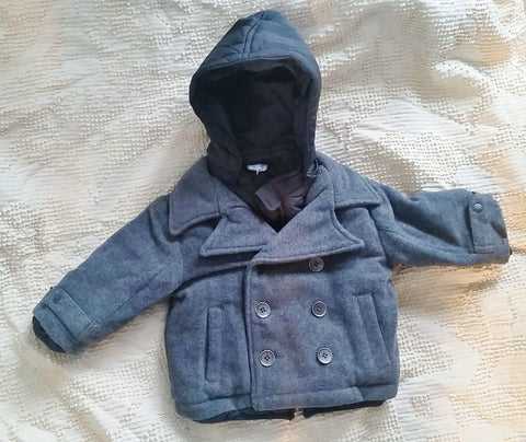 NEW NWT Toddler Boys Kids PRENATAL Wool Jacket Coat Winter GRAY 6-9 Mos.