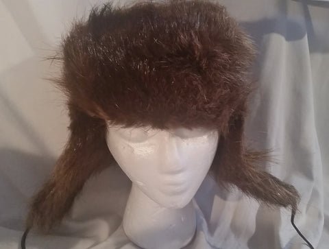 Genuine Fur COYOTE BEAVER Cap Trooper Flap Cossack Trapper Aviator Cosplay BROWN