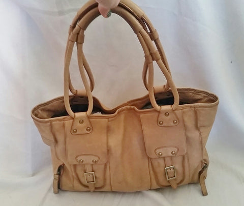 PRAGUE Cowhide Leather Shoulder Bag Tote Handbag Satchel Saddle BROWN L