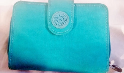 KIPLING BIFOLD Vegan Nylon change purse Wallet Organizer Signature Aqua Blue MONKEY