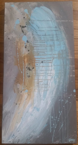 "30X14"" Signed 2014 UNFOLDING Original ART BY ANDREA HEROUX PAINTING ART Abstract Canada"