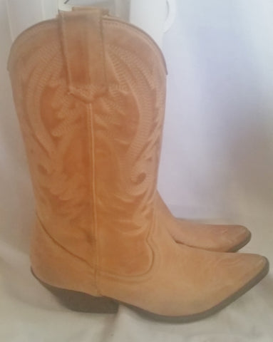 Womens ALDO Western Cowboy Gringo Leather Rocker Rider BOOTS 6.5 CHESTNUT BROWN TAN