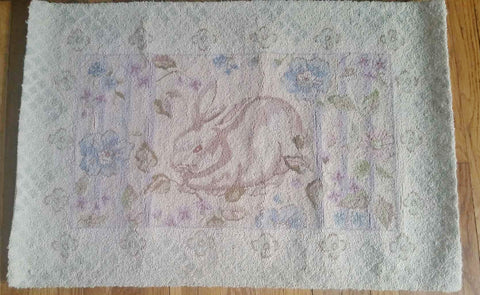 2' x 3' TRACY PORTER THROW Rug Mat Embroidered BUNNY RABBIT Wool Carpet WHITE