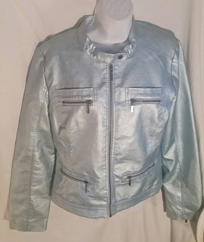 NEW Girls YOKI COLLECTION Vegan Faux Leather MOTO Jacket METALLIC BLUE XL Teen