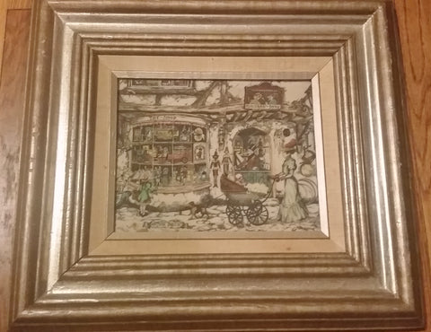 "16X18"" ANTON PIECK Etched Art Print Dutch TOY SHOP Fairytale Scene Punch & Judy FRAMED"
