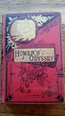 Antique 1885 HOMER'S ODYSSEY Alexander POPE Hardcover Book RED Collectible Gilt