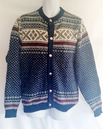 Mens L.L. BEAN NORDIC Fair Isles Wool Knit Sweater Cardigan M BLUE Fisherman WHITE RED