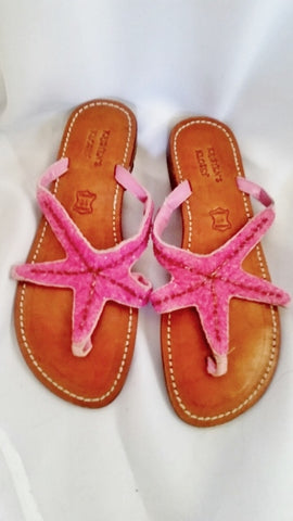 Womens KRISTEN'S KLOSET STARFISH Leather Sandal Flip Flop Thong Slide 10 PINK BEAD