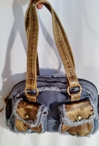 VAMP SADDLE Denim Satchel Hobo Shoulder Bag BLUE Boho Purse Vegan BROWN