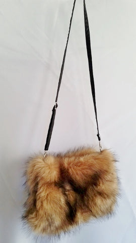 NEW FLUFFY PLUSH Crossbody Shoulder Bag Messenger FAUX FUR Vegan Purse BROWN