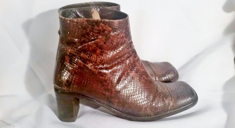 Womens VIA SPIGA ITALY PYTHON Snakeskin Leather Bootie Ankle BOOT Shoe 8.5 BROWN