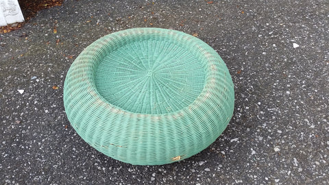 Vintage WICKER Braided Woven POUF Stand OTTOMAN Footstool BLUE AQUA 22""