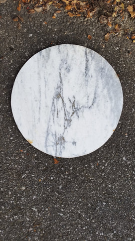 "24"" Diameter Marble STONE Heavy Round Circle Coffee Table Top GRAY DIY Art"