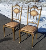 "Vintage Set 2 PINK GOLD Victorian CHAIR Seat Wood Brocade Pair 38"" Cushion"