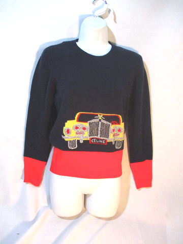 NWT NEW CELINE Vintage Car Auto CASHMERE Sweater M RED BLUE