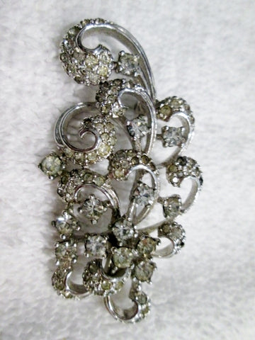 "Vintage 2"" x 1"" Rhinestone CURLICUE Floral Fireworks BROOCH PIN Silver Retro Red Carpet"