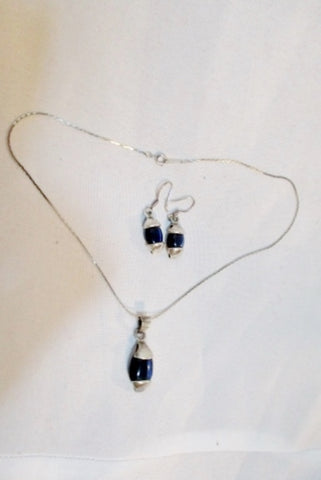 ITALY 925 STERLING SILVER BLUE Pierced EARRING PENDANT Set 16g Jewelry Statement
