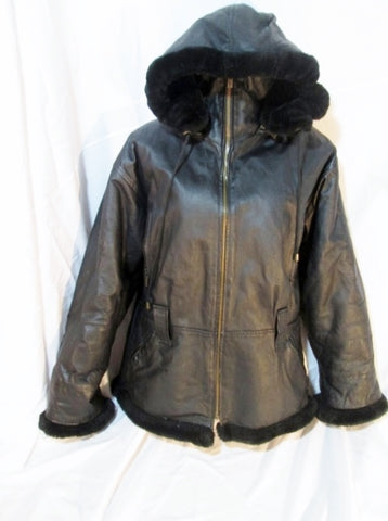 MENS WILDA USA Le Opero Leather shearling jacket coat parka BLACK L Hood Lined
