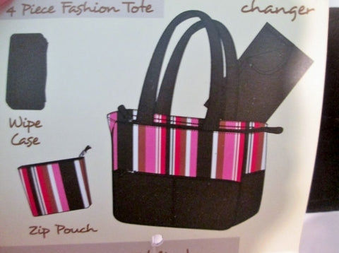 NEW NWT PRETTY BABY Diaper bag 4 Piece Fashion Tote Baby Gear BROWN STRIPE