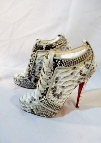 NEW CHRISTIAN LOUBOUTIN VENUS ORLATO SNAKE Bootie ITALY 37 6.5 Boot Beige