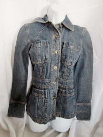 Womens DKNY JEANS Moto Riding Biker Jean Jacket XS BLUE Trucker Moto