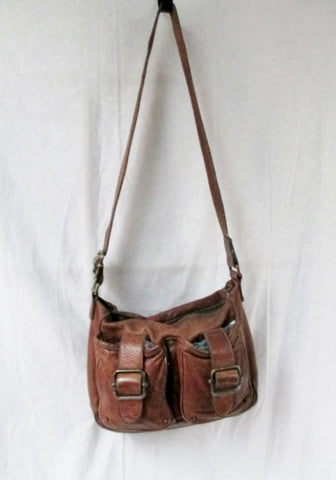 BANANA REPUBLIC leather messenger satchel shoulder flap hobo saddle bag BROWN M