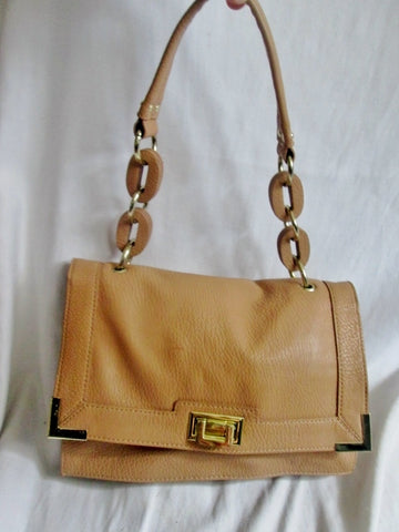 OLIVIA + JOY ZIP Vegan Faux Leather satchel shoulder bag COGNAC BROWN chainlink