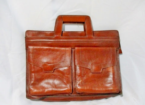 All LEATHER TOTE carryall shopper pockets work bag briefcase attache BROWN