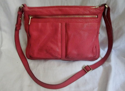 FOSSIL 1934 leather messenger satchel shoulder hobo saddle bag RED M