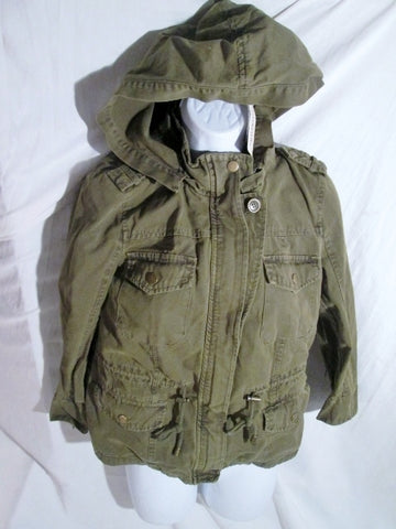 NEW NWT Womens FOREVER 21 Cargo Jacket Coat Hipster S OLIVE GREEN Hood Vegan
