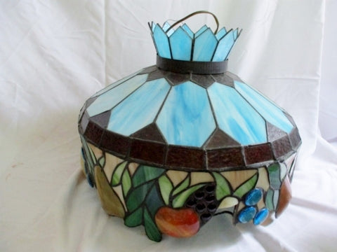 "21"" VINTAGE FRUIT STAINED GLASS LAMP SHADE Chandelier Hanging"