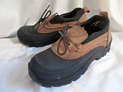 Womens LAND'S END DUCK Boots Waterproof SHOES Slip On Shoe BROWN 8.5 Ankle