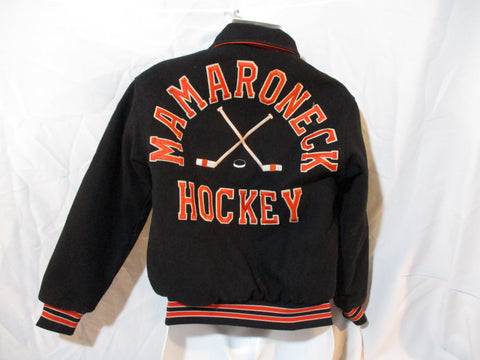 MAMARONECK HOCKEY Varsity Bomber Letterman Jacket Coat XS 32-34 Blue