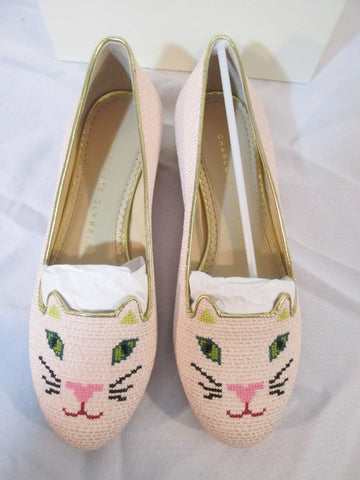 NEW CHARLOTTE OLYMPIA KITTY FLATS CAT PINK Rose Embroidered Shoe 36 6 Womens