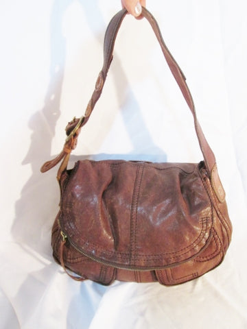 LUCKY BRAND leather hobo shoulder messenger bag BROWN pockets