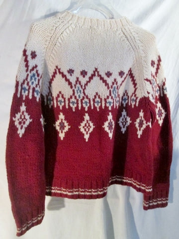 NEW Womens HAND KNIT J. CREW Ethnic Nordic Knit Sweater S RED WHITE Ski Holiday Top